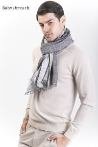 Babysbreath-Cotton &Wool Blended Gentlemen′s Scarf pictures & photos