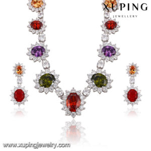 Fashion Luxury Rhodium Flower -Shaped CZ Diamond Jewelry Set for Wedding 62949 pictures & photos