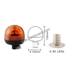 ECE R10 R65 12/24V Amber Low Mount Micro 60 LED Beacon Warning Light (SM808CA)