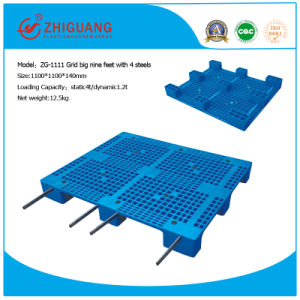 Big 9 Leg 4-Way Sigle Faced Plastic Pallet (with 4 steel tubes) pictures & photos