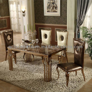 Modern Simple Marble Top Metal Legs Dining Room Table Furniture pictures & photos
