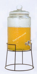 10L Glass Beverage Dispenser with Iron Stand Glass Bottle Glass Jar pictures & photos