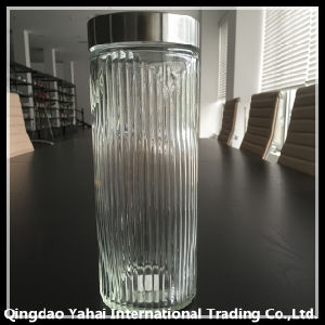 2200ml Ripple Patterned Glass Jar with Metal Lid pictures & photos
