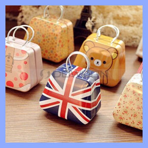Factory Price Cute Candy Jewelry Case Storage Box Mini Metal Handbag Tinplate Coin Bag pictures & photos