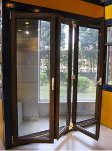 Aluminium Alloy Folding Door Sliding Glass Door for Patio, Exterior