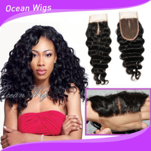 Deep Wave New Unprocessed Cambodian Human Hair Middle Part Slik Top Lace Closure pictures & photos