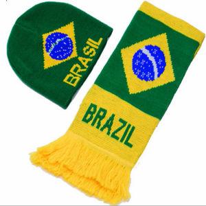 Wholesale Cheap Jacquard Brazil Brasil Badge Logo Football Soccer Scarf pictures & photos