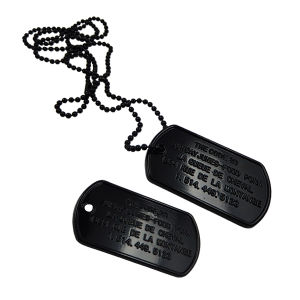 Factory Cheap Black Custom Metal Dog Tag with Bead Chain pictures & photos
