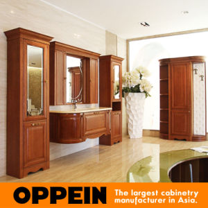 Oppein Classic Brown Solid Cherrywood Bathroom Cabinet Op15-200A pictures & photos