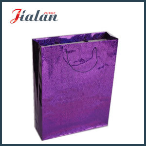 Custom Made Purple Color Holographic Shopping Carrier Gift Paper Bag pictures & photos