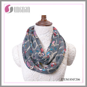 Winter Warm Fashion Flannel Multicolor Owls Printing Infinity Scarf (SNF206) pictures & photos