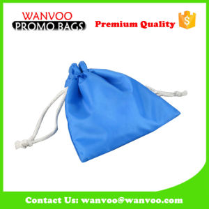 210d Polyester Blue Jewelry Drawstring Bag with Cotton Lining pictures & photos