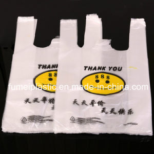 100% Virgin HDPE Colored Plastic T Shirt Bag with Custom Logo Printed