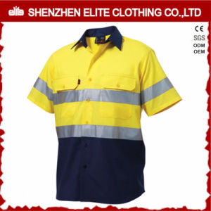 Two Tone Hi Vis Cotton Drill Short Sleeve Work Shirt pictures & photos