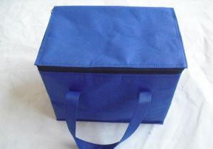 Non-Woven Blue Ice Bag with Zipper Closed