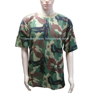 Military Woodland Camouflage T-Shirt with Circle Neck pictures & photos