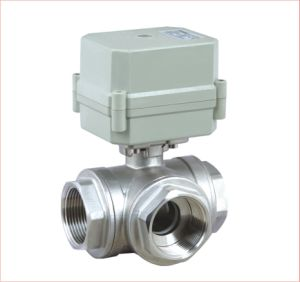 "3 Way T/L Port 1"" Electric Control Stainless Steel ValVe Motorized Ball Valve (A100-T25-S3-C) pictures & photos"