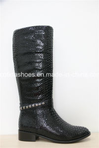 New European Fashion Leather Winter Rubber Women Boots pictures & photos