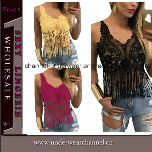 Sexy Lady Tassel Lace Cropped Shirt Tank Top (T25777) pictures & photos