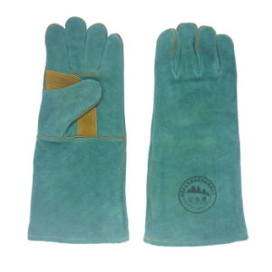 Green Reinforcement Palm Leather Welding Gloves pictures & photos