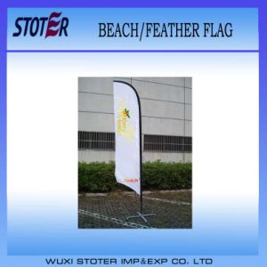 Knitted Polyester Custom Printing Beach Banner Feather Flag pictures & photos