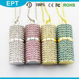 Promotional OEM Tin Cylinder Shape Crystal jewellery USB Memory Drives pictures & photos