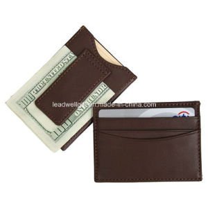 Leather Magnetic Money Clip Brown Wallet pictures & photos