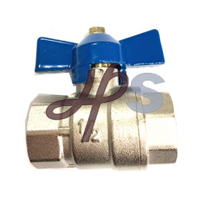 Plated Nickel Brass Full Port Ball Valve with Butterfly Handle pictures & photos