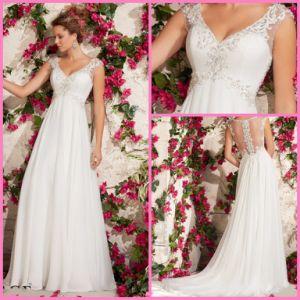 Chiffon Bridal Wedding Gowns Empire Waist V-Neck Beads Beach Wedding Dresses Vg3792 pictures & photos
