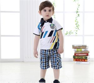 Summer New Baby Boy Infant Cotton Short-Sleeved Two Piece T-Shirt Suit pictures & photos