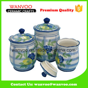 White Round Ceramic Cookie Canister Container Cookie Jar pictures & photos