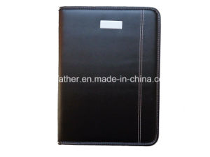 Black Engraved Leather Portfolio with Metal Plate pictures & photos