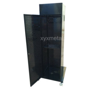 Four Sides Rotating Pegboard display Stand Rack with Door pictures & photos