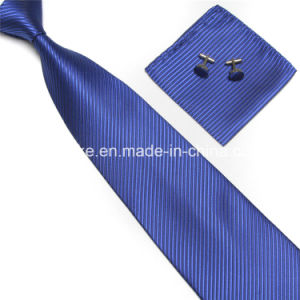 Fashion Striped Mens Microfiber Tie Hanky Cufflinks Set Wholesale in China pictures & photos