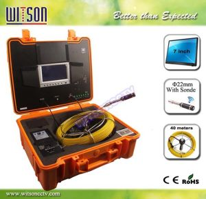 Witson Sewer Pipeline Inspection Camera with Push Rod Wheel 40m Fiberglass Cable pictures & photos