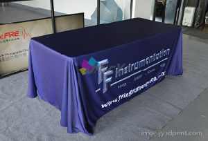 Custom Dye Sublimation No Wrinkle Exhibition 6FT/8FT Polyester Table Cloth pictures & photos