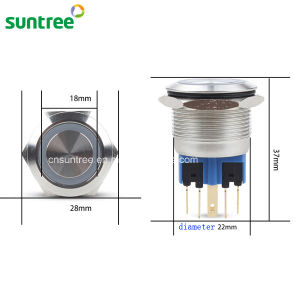 22mm Metal Stainless Steel Momentary Push Button Switches pictures & photos