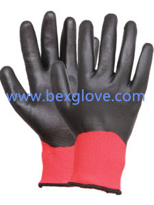 Nitrile Coating, Fully, Micro-Foam Finish, 13 Gauge Polyester Liner Safety Gloves pictures & photos