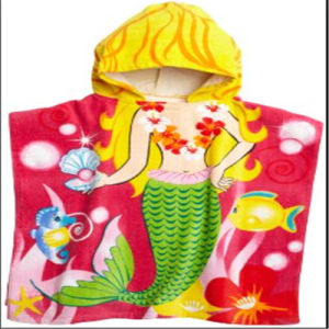 Cotton Printed Bath Poncho Beach Towel for Kids pictures & photos
