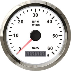 Best Price! ! ! 85mm Tachometer Gauge Tacho White Faceplate Stainless Steel Bezel Boat Car Tachometer 0-6000rpm for Gas Engine pictures & photos