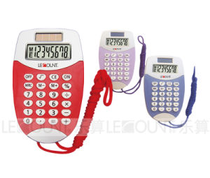 8 Digits Display Dual Power Pocket Calculator with Hanging Cord (LC323)