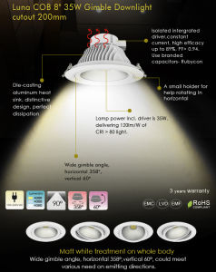 New Products 2015 Innovative Product 8inch 35W COB LED Downlight with CE, RoHS pictures & photos