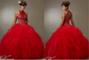 Jeweled Beading on a Ruffled Tulle Ball Gown Embroidery Dress pictures & photos