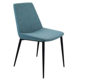 Latest Simple Design Blue Fabric Dining Chair with Iron Leg (DC017) pictures & photos