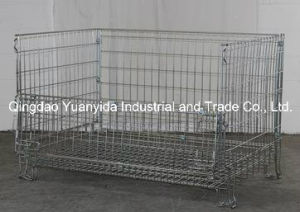 Metal Folding 4 Sides Full Security Wire Mesh Containers pictures & photos