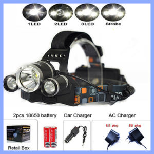 Portable 3 LED Headlamps 3 T6 Head Lamp Light 4 Modes for Bicycle Riding Hight Power LED Headlamp + Charger+ Batteries pictures & photos