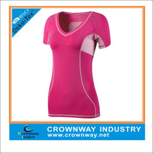 Polyester Dry Fit Short Sleeve Sport Shirt for Women pictures & photos