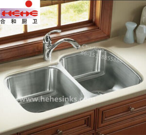 Double Bowl 304 Stainless Steel Kitchen Sink, Bar Sink (8153AR) pictures & photos