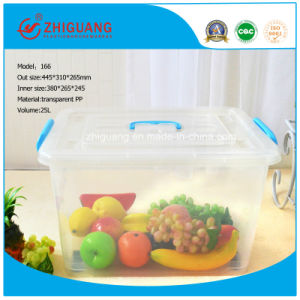 High Quality 25L Plastic Storage Box Clear Moveable Plastic Container for Household Products pictures & photos