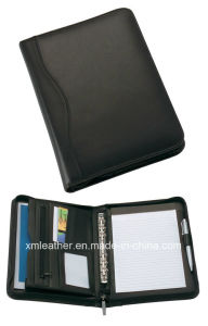 A4 Zipper Document Leather Conference Folder with Notepad pictures & photos